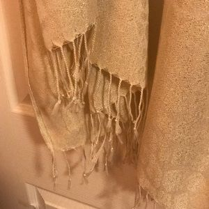 Accessories - Fringed Metallic  Off White Scarf